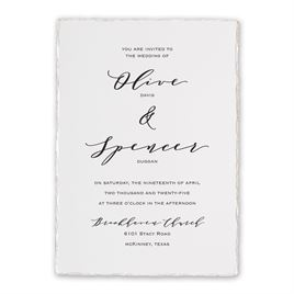 Traditional Wedding Invitations: Pearlescent Deckle Invitation