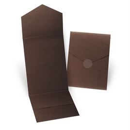 Wedding Invitation Pockets: Brown Shimmer Invitation Pocket