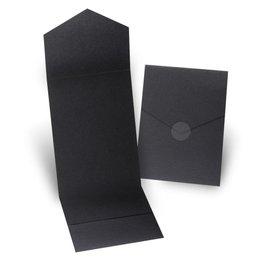 Wedding Invitation Pockets: Black Shimmer Invitation Pocket