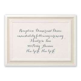 Wedding Reception and Information Cards: Beautifully Framed Ecru Reception Card