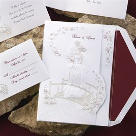 Loves Journey with Claret Accents - Invitation