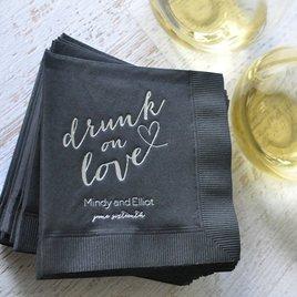Drunk on Love - White - Foil Cocktail Napkin