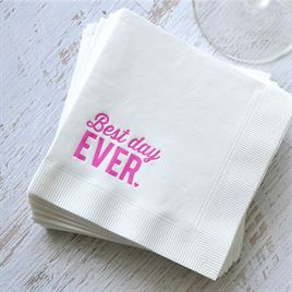 Best Day Ever - White - Foil Cocktail Napkin