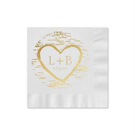 Birch Tree Carvings - White - Foil Cocktail Napkin