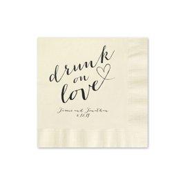 Drunk on Love - Ecru - Foil Cocktail Napkin