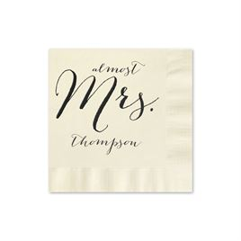 Almost Mrs. - Ecru - Foil Cocktail Napkin
