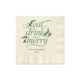Eat, Drink, Merry - Ecru - Holiday Beverage Napkin