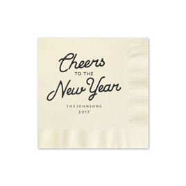 Cheers - Ecru - Holiday Beverage Napkin