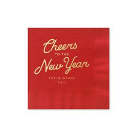 Cheers - Red - Holiday Beverage Napkin