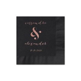 Modern Glow - Black - Foil Cocktail Napkin