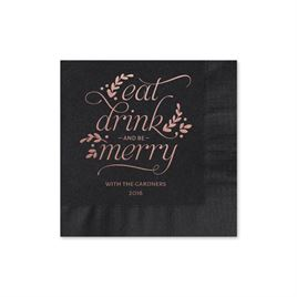 Eat, Drink, Merry - Black - Holiday Beverage Napkin