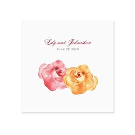 Watercolor Roses - Yellow - White Dinner Napkin