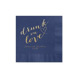 Drunk on Love - Navy - Foil Cocktail Napkin