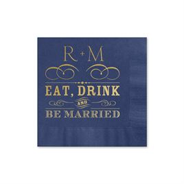 Be Married - Navy - Foil Cocktail Napkin