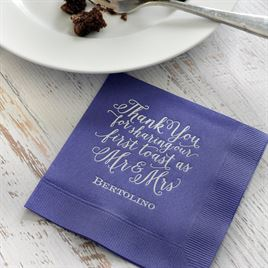 First Toast - Navy - Foil Cocktail Napkin