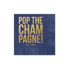 Pop the Champagne - Navy - Foil Cocktail Napkin
