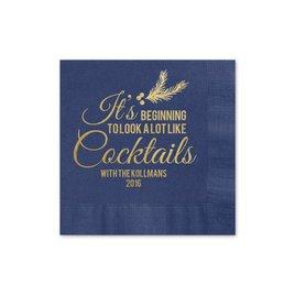 Looks Like Cocktails - Navy - Holiday Beverage Napkin