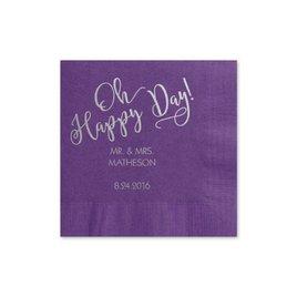 Oh Happy Day - Purple - Foil Cocktail Napkin
