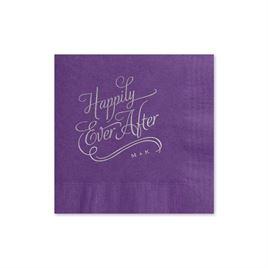 Happily Ever After - Purple - Foil Cocktail Napkin