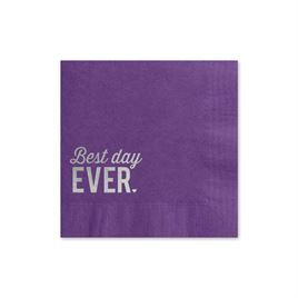Best Day Ever - Purple - Foil Cocktail Napkin