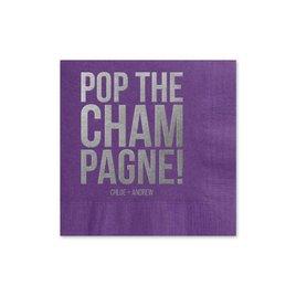 Pop the Champagne - Purple - Foil Cocktail Napkin