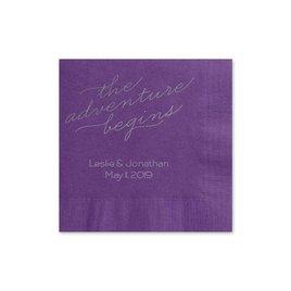 The Adventure Begins - Purple - Foil Cocktail Napkin