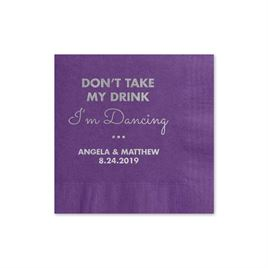 Busy Dancing - Purple - Foil Cocktail Napkin