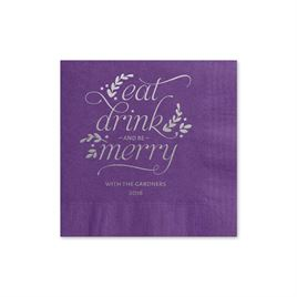 Eat, Drink, Merry - Purple - Holiday Beverage Napkin