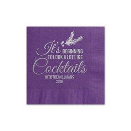 Looks Like Cocktails - Purple - Holiday Beverage Napkin