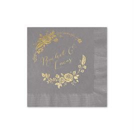 Roses and Whimsy - Pewter - Foil Cocktail Napkin