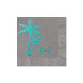 Palm Trees - Pewter - Foil Cocktail Napkin