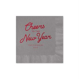 Cheers - Pewter - Holiday Beverage Napkin