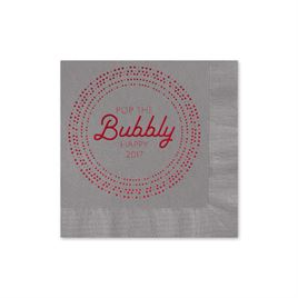 Pop the Bubbly - Pewter - Holiday Beverage Napkin
