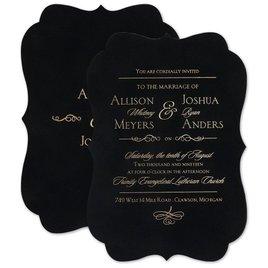 Wedding Invitations: Contoured Elegance - Black - Invitation