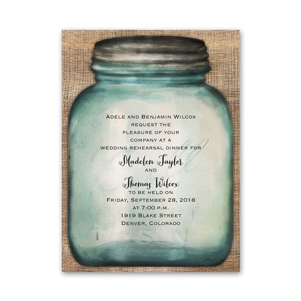 Country Canning Jar Petite Rehearsal Dinner Invitation