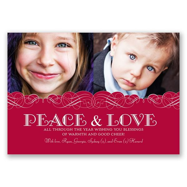 Peace and Love Photo Holiday Card Classic
