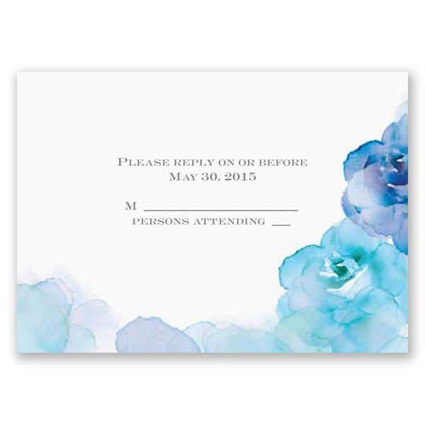 Watercolor Roses Blue Respond Card and Envelope