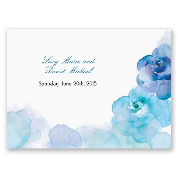 Watercolor Roses - Blue - Response Postcard
