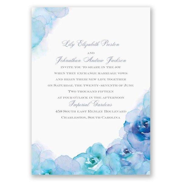 Watercolor Roses - Blue - Invitation