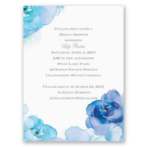 Watercolor Roses - Blue - Petite Bridal Shower Invitation