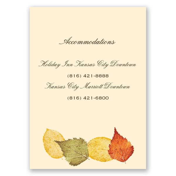 Touch of Autumn Accommodations Card