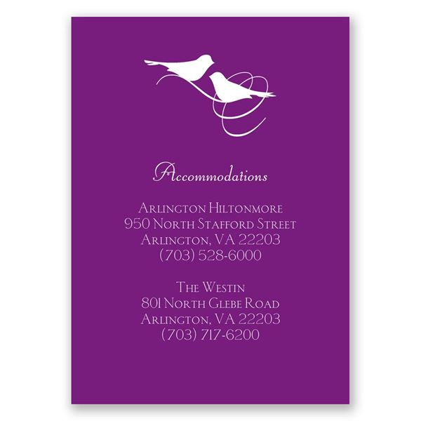 Pretty Birds Accommodations Card