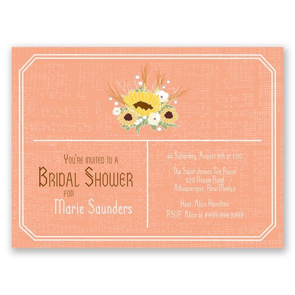 Country Sunflowers - Corabell - Petite Bridal Shower Invitation