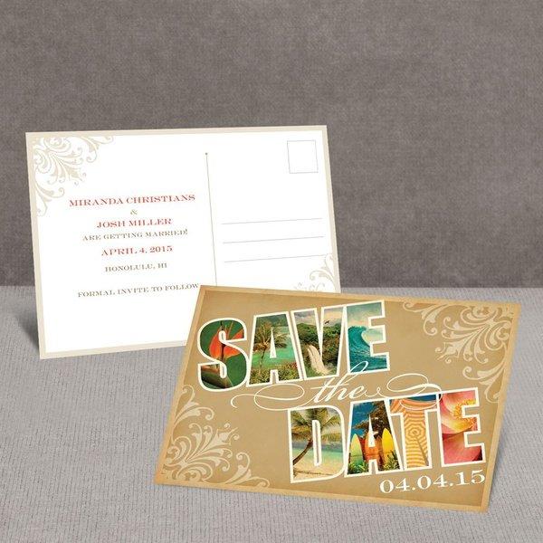 Souvenir Tropical Save the Date Postcard