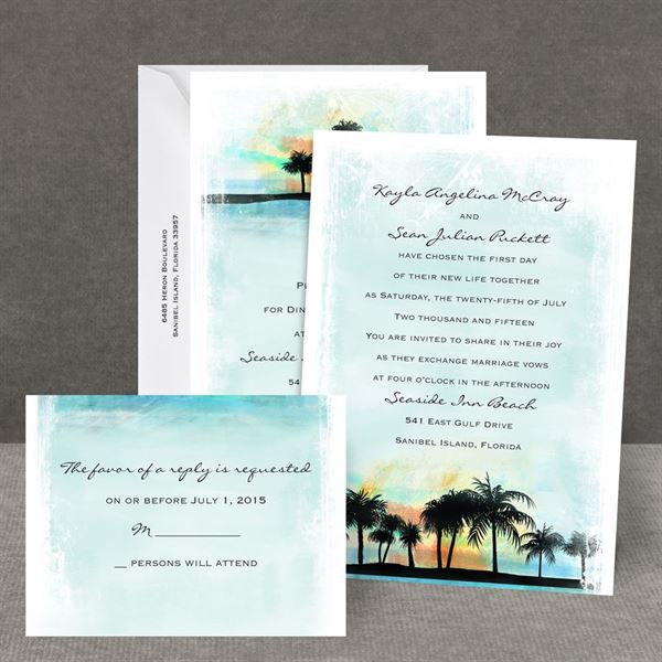 Tropical Watercolors All In One Invitation