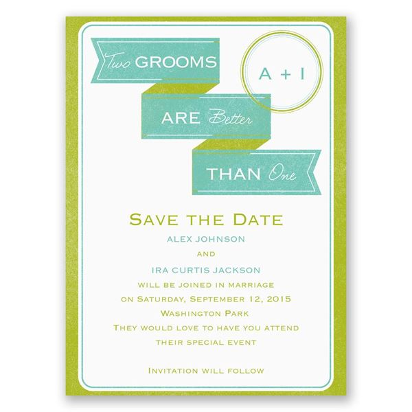 Two Grooms Save the Date Card