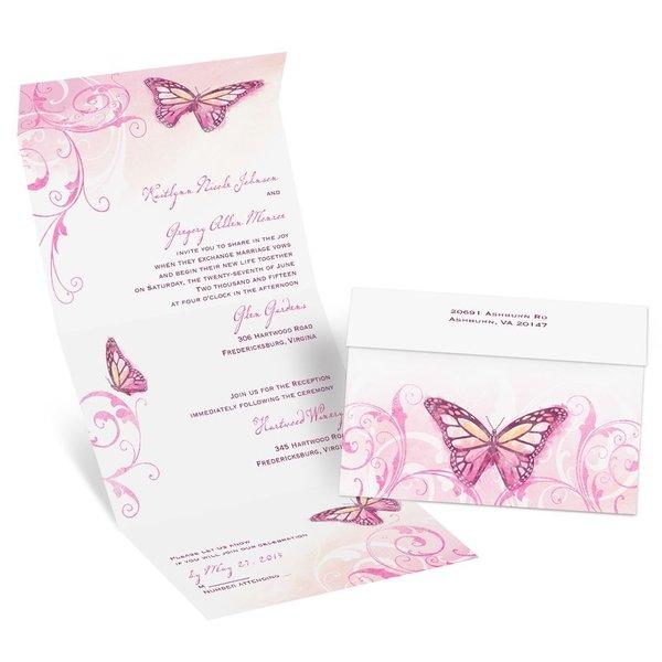 Beautiful Butterflies - Fuchsia - Seal and Send Invitation