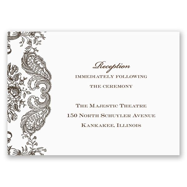 Rustic Lace Reception Card