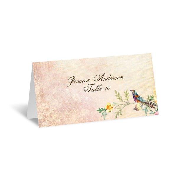 Vintage Birds Escort Card
