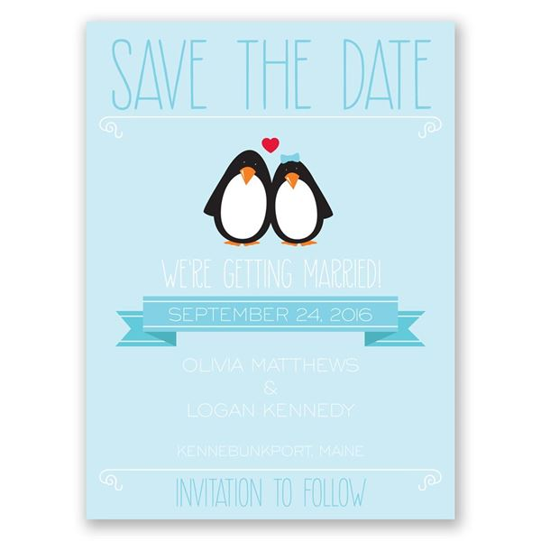 Penguin Pair Save the Date Card